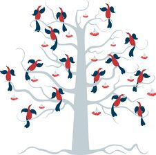 Free Birds On The Tree Royalty Free Stock Image - 44097706