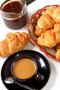 Free Cup Of Coffee With Fresh Croissants Stock Photos - 4410743
