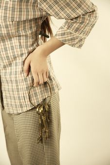 Free Girl Holding Brass Keys Royalty Free Stock Photos - 4411178