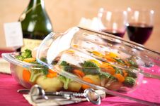 Boiled Vegetables In Oven-proof Dish Stock Image