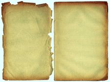 Free Two Shabby Blank Pages With Fragmentary Edges. Royalty Free Stock Image - 4413666