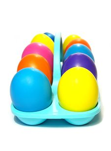 Easter Holiday. Color Eggs In A Tray Stock Photography