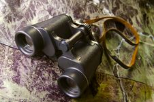 Free Binoculars On Map Royalty Free Stock Image - 4413776