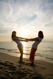 Free Two Girls Having Fun At The Beach Stock Photos - 4414873
