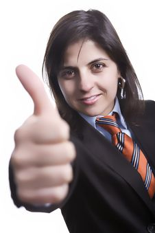 Free Businesswoman With Thumbs Up Stock Photography - 4414942