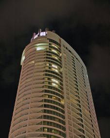 High Rise Condominium In South Beach At Night Stock Photography