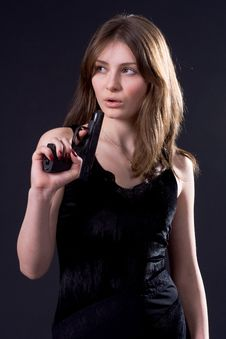 Free Lady And Gun Stock Photography - 4416222
