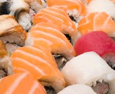 Free Close-up Of Japanese Food Rolls And Sushi Stock Image - 4417521