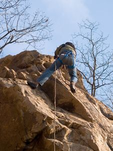 Climber On The Rope Royalty Free Stock Photo