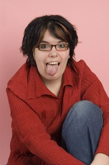 Free Crazy Woman Sticks Out Her Tongue Royalty Free Stock Photo - 4418825