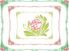 Decorative Frame With A Rose Stock Image