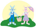 Free Bunnies On An Easter Egg Hunt Royalty Free Stock Image - 4428656