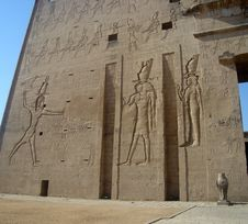 Free Horus Temple Front Wall Stock Photography - 4420762