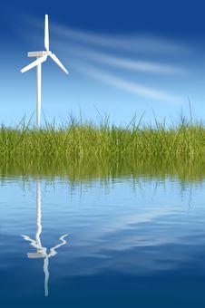 Wind Turbines On Green Field Stock Image