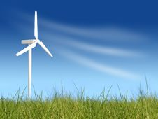 Wind Turbines On Green Field Royalty Free Stock Photography