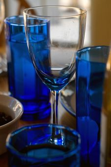 Free Wineglass And Blue Tabletop Glasses Royalty Free Stock Image - 4421016