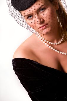 Portrait Of Young Lady In Black Royalty Free Stock Photography