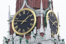 Free Clock`s Off Spasskaya Tower Stock Photo - 4421790