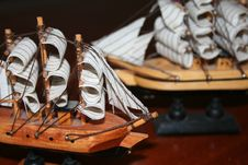 Free Two Toy Ship On Wood Backgroun Royalty Free Stock Photography - 4421817