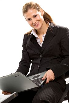 Free Pretty Young Businesswoman Working With Laptop Royalty Free Stock Photos - 4422368