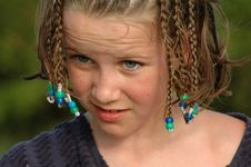 Free Girl At Beach With Hair In Braids Stock Photography - 4422442