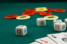 Dice, Cards And Chips Stock Image