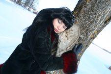 Free Woman Near Tree. Stock Photo - 4422970