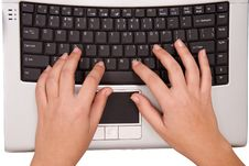 Free Hands On Computer Keyboard From Top Stock Photos - 4423093