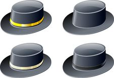 Free Four Black Hats Royalty Free Stock Photos - 4424628