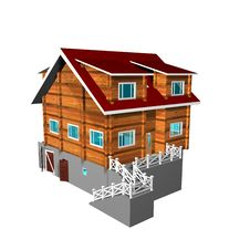 Wooden House On A White Backgr Stock Image