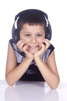 Free Young Boy And Headset Royalty Free Stock Images - 4424909
