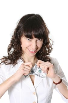 Free Woman And 50 Dollars Stock Photography - 4425202