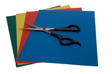Free Scissors On Colored Paper 2 Royalty Free Stock Photography - 4426327