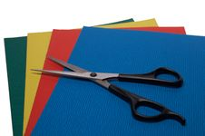Free Scissors On Colored Paper 3 Royalty Free Stock Photos - 4426338