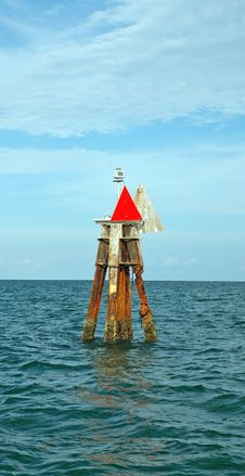 Channel Marker Off Coast Of Miami Royalty Free Stock Images