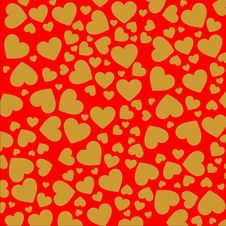 Free Bright Golden Hearts On The Red Background Stock Image - 4427051
