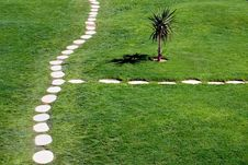 Stone Path Through Lawn Royalty Free Stock Photography