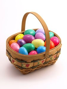 Free Wicker Easter Basket With Colorful Eggs 2 Royalty Free Stock Image - 4428266