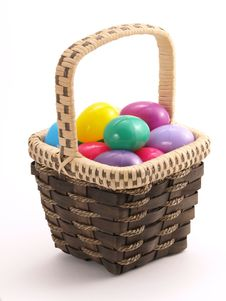 Free Wicker Easter Basket With Colorful Eggs 3 Royalty Free Stock Images - 4428269