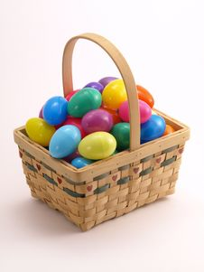 Free Wicker Easter Basket With Colorful Eggs 4 Stock Images - 4428284