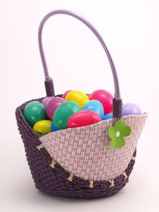 Free Wicker Easter Basket With Colorful Eggs 5 Stock Photo - 4428290