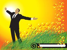 Free Businessman, Sun, Grass, Frame Royalty Free Stock Photography - 4429027