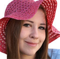 Free Girl Wth Coquettish Look Wearing Red Hat Stock Images - 4436654