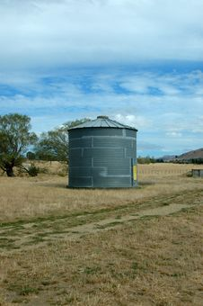 Free Metal Silo On Sheep Ranch Stock Image - 4431001