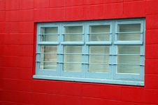 Free Red Wall Blue Window Frame Stock Photos - 4431113