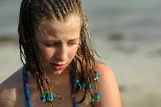 Free Young Girl On Beach With Braids Stock Photography - 4431352