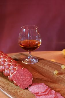 Free Sausage And Cognac 03 Stock Photography - 4431782