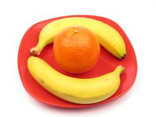 Free Fruits On A Red Plate Royalty Free Stock Photo - 4435555