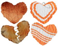 Free Set Of Hearts - A Paper And Textiles Stock Photo - 4437520