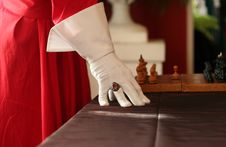 Red Seal-ring And Chess Stock Photography